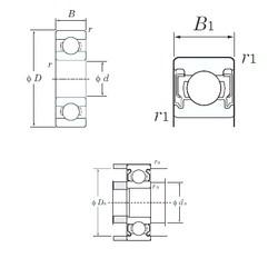 6 mm x 17 mm x 6 mm  KOYO 606-2RU deep groove ball bearings