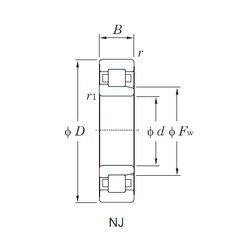 95 mm x 170 mm x 32 mm  KOYO NJ219R cylindrical roller bearings