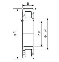 80 mm x 200 mm x 48 mm  NACHI NJ 416 cylindrical roller bearings