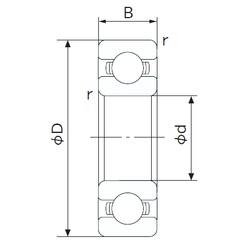 110 mm x 140 mm x 16 mm  NACHI 6822 deep groove ball bearings