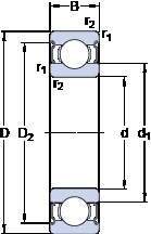 110 mm x 170 mm x 28 mm  SKF 6022-2Z deep groove ball bearings