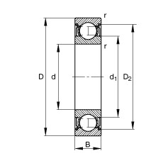 45 mm x 75 mm x 16 mm  FAG 6009-2Z deep groove ball bearings