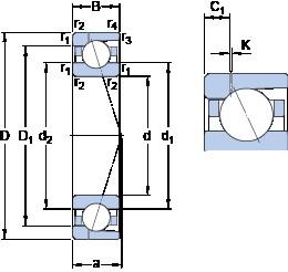 110 mm x 170 mm x 28 mm  SKF 7022 CD/P4AH1 angular contact ball bearings