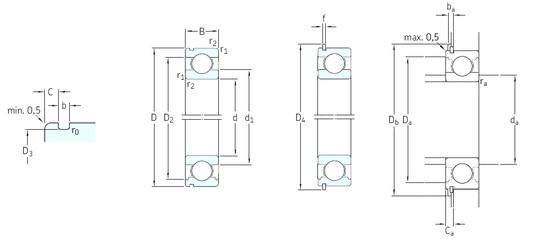 95 mm x 170 mm x 32 mm  SKF 6219NR deep groove ball bearings