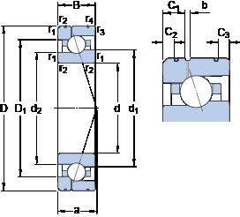 110 mm x 170 mm x 28 mm  SKF 7022 ACE/HCP4AL1 angular contact ball bearings