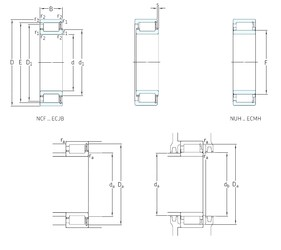 110 mm x 200 mm x 53 mm  SKF NUH2222ECMH cylindrical roller bearings