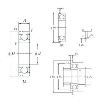 95 mm x 170 mm x 32 mm  KOYO 6219NR deep groove ball bearings