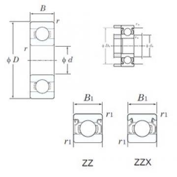 5 mm x 14 mm x 5 mm  KOYO 605ZZ deep groove ball bearings