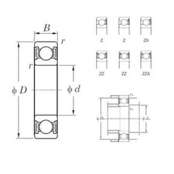 110 mm x 140 mm x 16 mm  KOYO 6822ZZ deep groove ball bearings