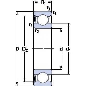 110 mm x 170 mm x 28 mm  SKF 6022-RS1 deep groove ball bearings