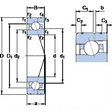 110 mm x 170 mm x 28 mm  SKF 7022 ACE/P4AL angular contact ball bearings