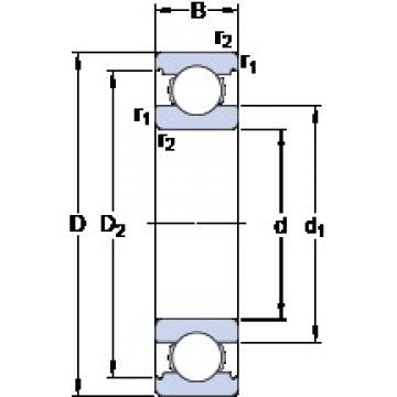 110 mm x 170 mm x 28 mm  SKF 6022 M deep groove ball bearings