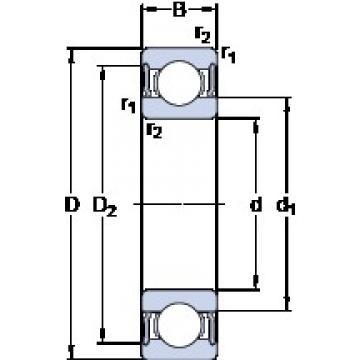 110 mm x 170 mm x 28 mm  SKF 6022-2RS1 deep groove ball bearings