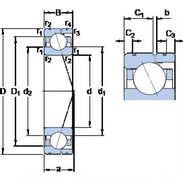 110 mm x 170 mm x 28 mm  SKF 7022 CD/P4AL angular contact ball bearings