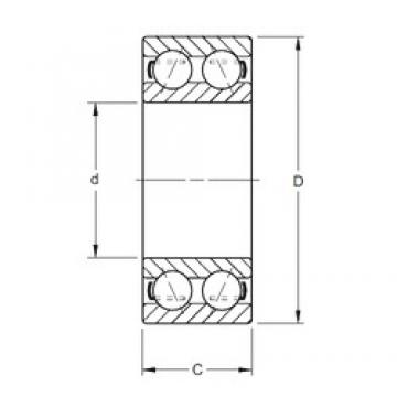 25 mm x 62 mm x 25,4 mm  Timken 5305K PRB angular contact ball bearings