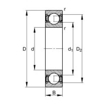 95 mm x 170 mm x 32 mm  FAG 6219-2RSR deep groove ball bearings