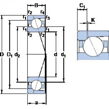 110 mm x 170 mm x 28 mm  SKF 7022 ACD/P4AH1 angular contact ball bearings