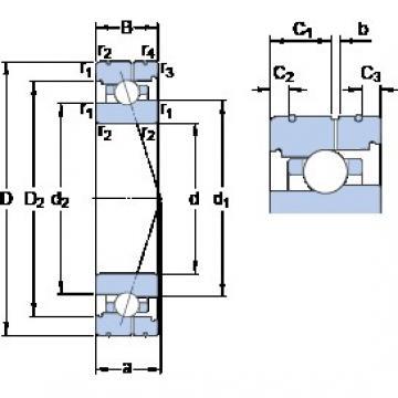 110 mm x 170 mm x 28 mm  SKF 7022 ACB/P4AL angular contact ball bearings