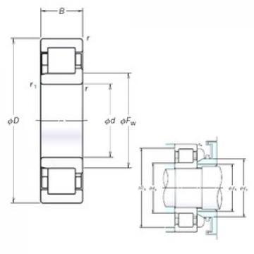 95 mm x 200 mm x 45 mm  NSK NJ319EM cylindrical roller bearings