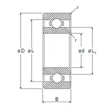 6 mm x 17 mm x 6 mm  NMB R-1760X2 deep groove ball bearings