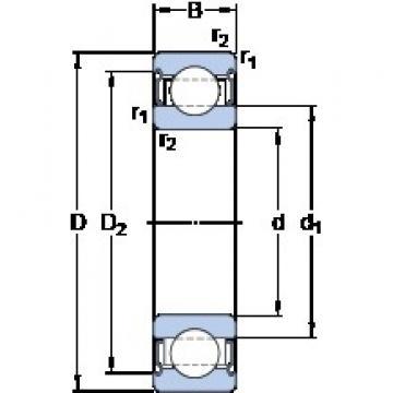 110 mm x 170 mm x 28 mm  SKF 6022-2Z/VA208 deep groove ball bearings